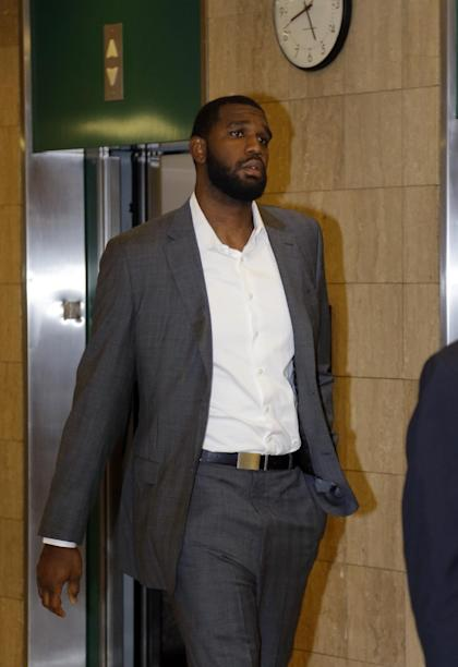 Former NBA No. 1 draft pick Greg Oden arrives for court in Indianapolis on Wednesday morning. (AP/Michael Conroy)