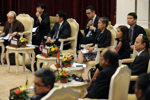 Attendees are seated during the Association of Southeast Asian Nations (ASEAN) Foreign Ministers' Meeting