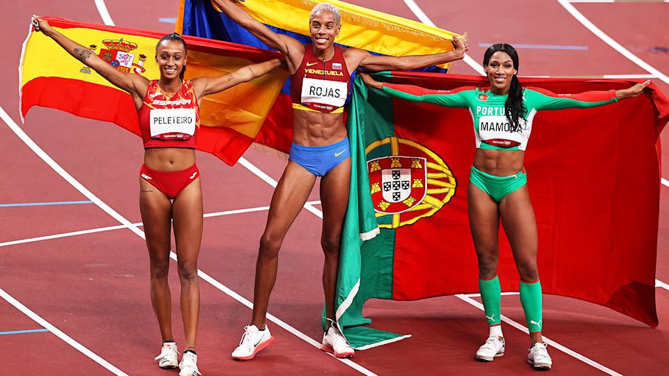 Ana Peleteiro, Yulimar Rojas and Patricia Mamona, pictured here after the triple jump final at the Olympics.