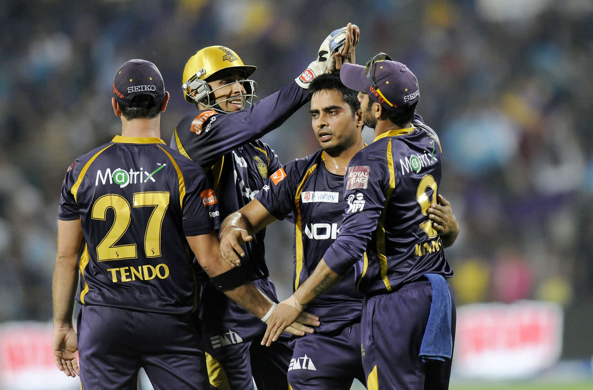Rajat Bhatia of Kolkata Knight Riders celebrates the wicket of Mitchell Marsh of Pune Warriors during match 56 of the Pepsi Indian Premier League ( IPL) 2013  between The Pune Warriors India and the Kolkata Knight Riders held at the Subrata Roy Sahara Stadium, Pune on the 9th May 2013. (BCCI)