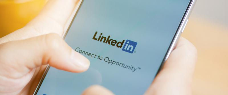 LinkedIn splash screen on a mobile phone
