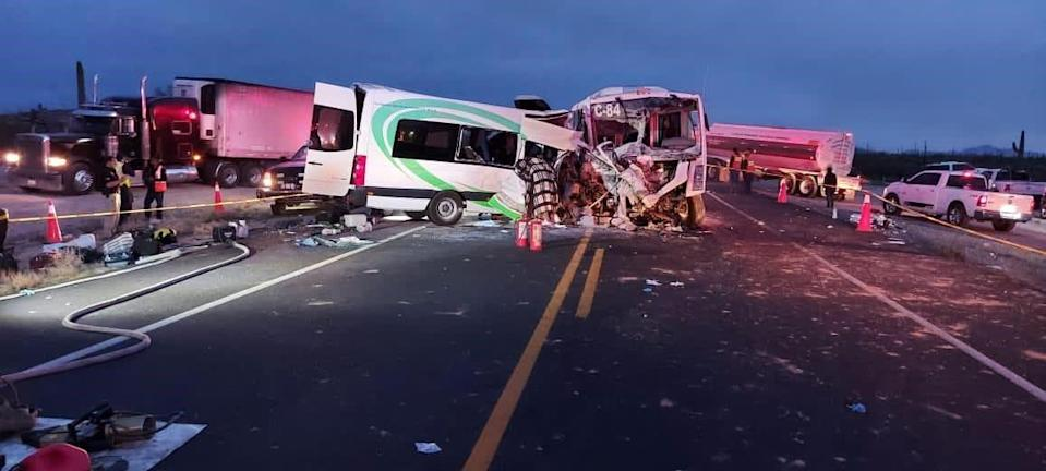 Two buses collided head-on near the Noche Buena gold mine south of the Arizona-Mexico border early Tuesday morning. The crash killed 16 people and injured 14 others, according to Sonora officials.