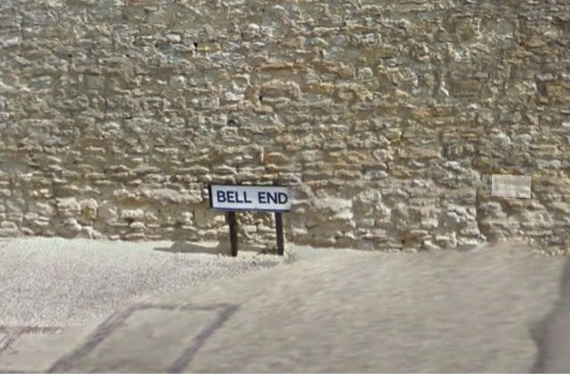 Bell End road sign has been taken from a village in Wollaston, Northamptonshire