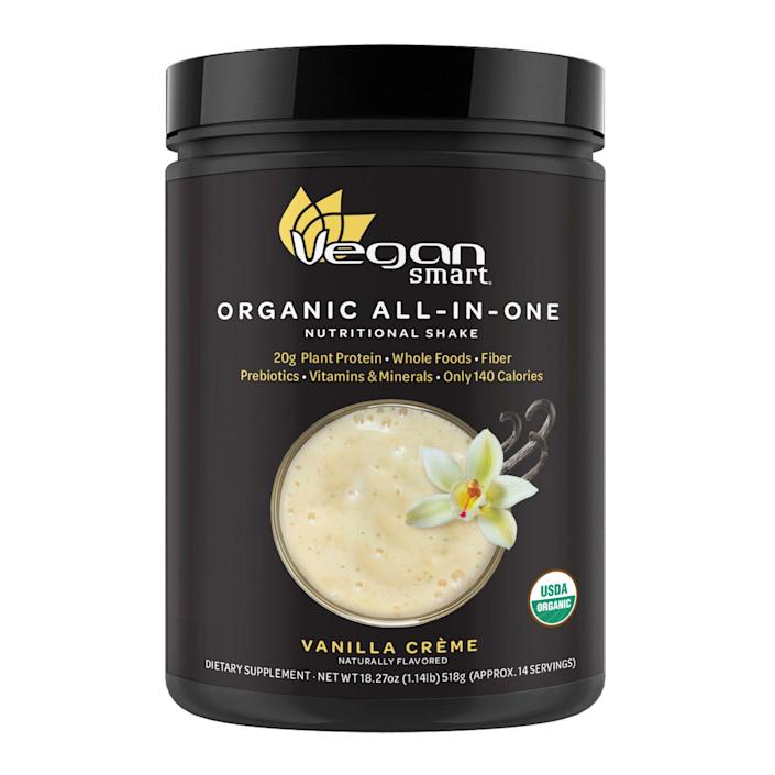 """<p><strong>Organic All In One Nutritional Shake, Vanilla Crème</strong></p><p>vegansmart.com</p><p><strong>$20.39</strong></p><p><a href=""""https://www.vegansmart.com/shop/vegansmart/new-vegansmart-organic-all-in-one-vanilla-creme-14-servings"""" rel=""""nofollow noopener"""" target=""""_blank"""" data-ylk=""""slk:BUY NOW"""" class=""""link rapid-noclick-resp"""">BUY NOW</a></p><p>If you'd prefer your dairy-free alternatives to be something with a little (read: a lot) less sugar, <a href=""""https://www.vegansmart.com/"""" rel=""""nofollow noopener"""" target=""""_blank"""" data-ylk=""""slk:VeganSmart"""" class=""""link rapid-noclick-resp"""">VeganSmart</a> is a tasty go-to for plant-based protein. Their shake powders swap out the usual chalky aftertaste in favor of a creamy finish packed with probiotics, vitamins, and no animal products. Even better? You've got <a href=""""https://www.vegansmart.com/shop"""" rel=""""nofollow noopener"""" target=""""_blank"""" data-ylk=""""slk:so many flavors to choose from"""" class=""""link rapid-noclick-resp"""">so many flavors to choose from</a>.</p>"""