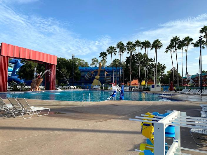"""A view of the """"Fantasia"""" pool at Disney World's All-Star Movies resort."""