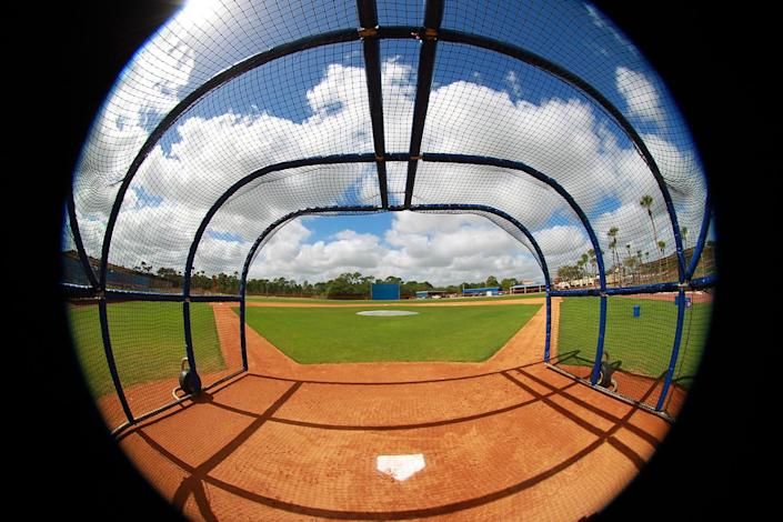 <p>A fisheye view of the batting cage at the Mets spring training facility in Port St. Lucie, Fla., Friday, Feb 24, 2017. (Gordon Donovan/Yahoo Sports) </p>