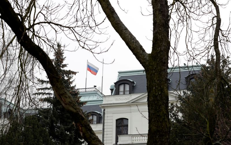 FILE PHOTO: A national flag of Russia flies on the Russian embassy in Prague