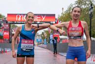 <p>Natasha Cockram and Naomi Mitchell of Great Britain celebrate after completing the race</p>