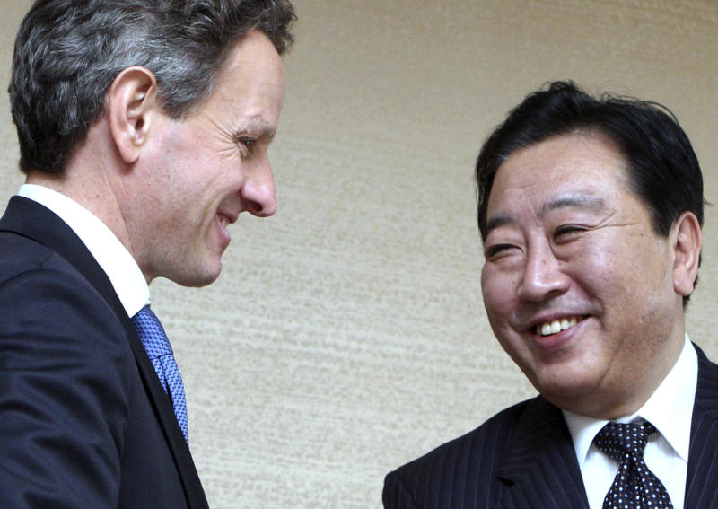 U.S. Treasury Secretary Timothy Geithner, left, is welcomed by Japanese Finance Minister Yoshihiko Noda before their meeting at the APEC Finance Ministers' Meeting in Kyoto, western Japan, Saturday, Nov. 6, 2010. (AP Photo/Tomohiro Ohsumi, Pool)