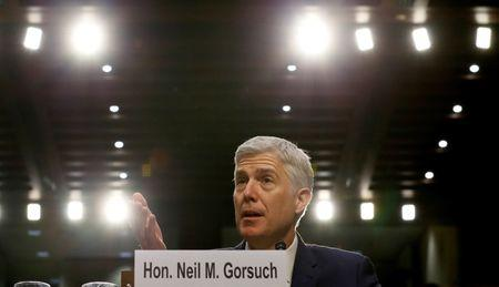 U.S. Supreme Court nominee judge Neil Gorsuch responds to a question as he testifies during the third day of his Senate Judiciary Committee confirmation hearing on Capitol Hill in Washington, U.S., March 22, 2017. REUTERS/Jim Bourg
