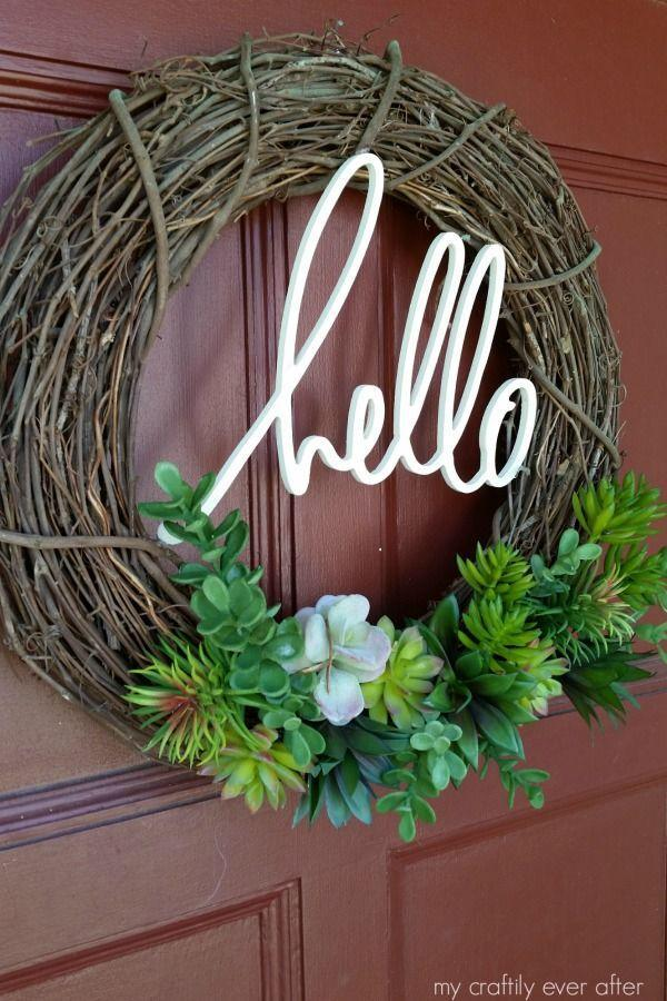 "<p>Customize this wreath with a phrase of your choice to add a personal touch to your door.</p><p><strong>Get the tutorial at <a href=""http://www.mycraftilyeverafter.com/2016/05/12/succulent-wreath/"" rel=""nofollow noopener"" target=""_blank"" data-ylk=""slk:My Craftily Ever After"" class=""link rapid-noclick-resp"">My Craftily Ever After</a>. </strong></p><p><strong><a class=""link rapid-noclick-resp"" href=""https://www.amazon.com/Supla-Artificial-Succulents-Assortment-Arrangement/dp/B07C746RGZ/?tag=syn-yahoo-20&ascsubtag=%5Bartid%7C10050.g.4395%5Bsrc%7Cyahoo-us"" rel=""nofollow noopener"" target=""_blank"" data-ylk=""slk:SHOP SUCCULENTS"">SHOP SUCCULENTS</a><br></strong></p>"