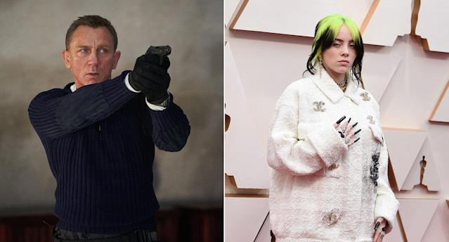 A composite image of Daniel Craig's James Bond and Billie Eilish. (Universal/Getty)