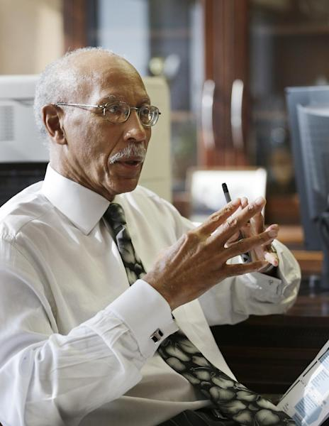 """Detroit Mayor Dave Bing is interviewed in his office, Wednesday, March 6, 2013. The mayor says he believes Michigan Gov. Rick Snyder will appoint an emergency manager over the city's finances and that he """"intends to work collaboratively"""" with that person. Bing says he's considering whether to appeal a determination by a state-appointed review team and Snyder that Detroit has not put forward a plan to resolve the city's serious financial problem. (AP Photo/Carlos Osorio)"""