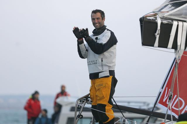 French skipper Armel Le Cleac'h reacts after he won the solo round-the-world Vendee Globe sailing race, in the waters off Les Sables d'Olonne on France's Atlantic coast January 19, 2017. REUTERS/Regis Duvignau