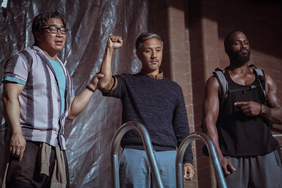 """Ron Yuan (far left), Alain Uy and Mykel Shannon Jenkins play middle-aged guys returning to their kung fu roots in the action comedy """"The Paper Tigers."""""""