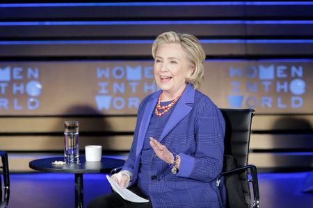 FILE PHOTO: Hillary Clinton, Former Secretary of State speaks during the Women In The World Summit in New York City, U.S., April 13, 2018. REUTERS/Eduardo Munoz