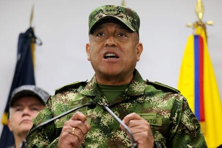 Commander of the Colombian Military Forces, General Luis Fernando Navarro speaks during a news conference, in Bogota, Colombia May 20, 2019. REUTERS/Luisa Gonzalez