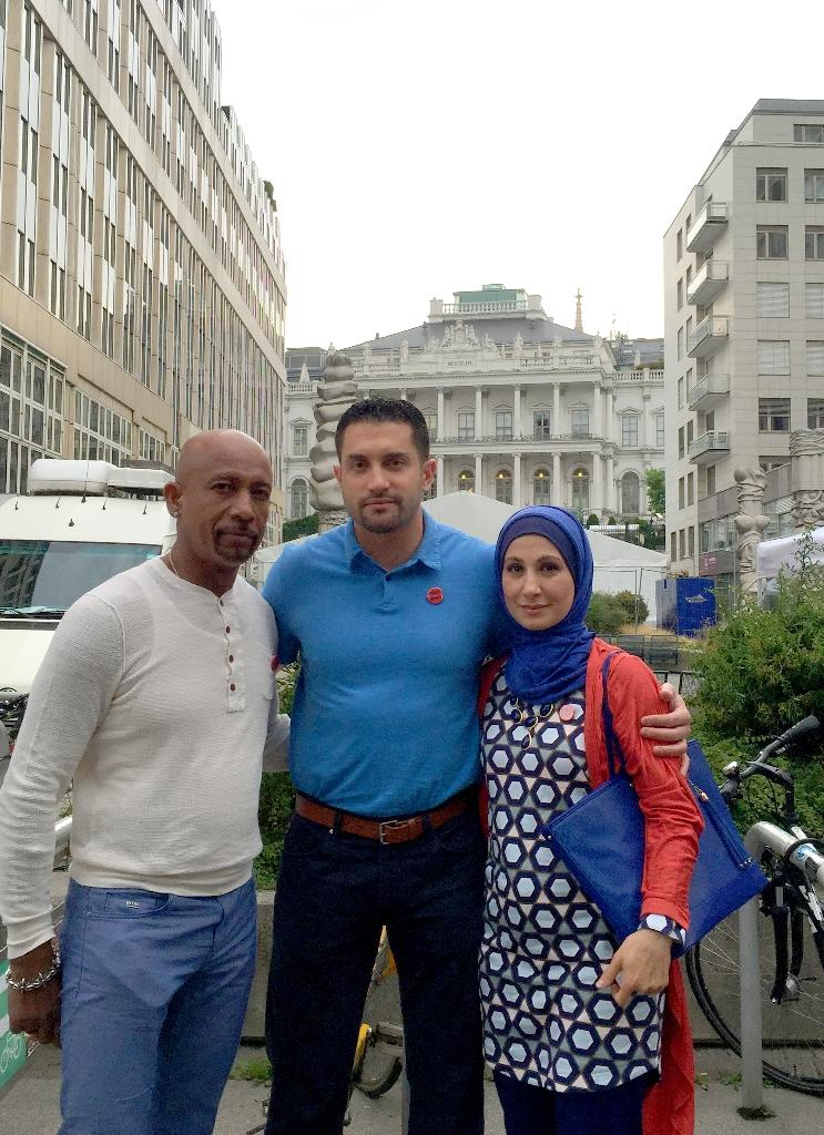 This handout photo obtained on June 28, 2015 shows Sarah Hekmati (L), her husband Ramy Kurdi (C) and US television personality Montel Williams outside the venue of the Iran talks in Vienna