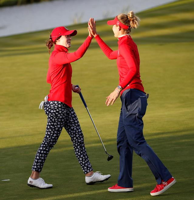 The Korda sisters continue to dominate for USA in Gleneagles, beating Carlota Ciganda and Bronte Law in the last match of Saturday's morning session 6&5.