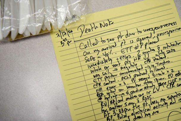 PHOTO: A death note written by Dr. Joseph Varon, the chief medical officer at United Memorial Medical Center (UMMC), about a COVID-19 patient who died while being intubated in Houston, Texas, July 17, 2020. (Callaghan O'hare/Reuters)