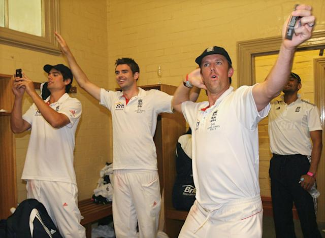 England cricketers Alastair Cook (L), James Anderson (C) and Graeme Swann (R) celebrate in the dressing room by doing 'the sprinkler', after winning the series 3-1 during day five of the Fifth Ashes Test match between Australia and England, at Sydney Cricket Ground, in Sydney, Australia, on January 7, 2011. AFP PHOTO/TOM SHAW/POOL IMAGE STRICTLY RESTRICTED TO EDITORIAL USE - STRICTLY NO COMMERCIAL USE (Photo credit should read TOM SHAW/AFP/Getty Images)