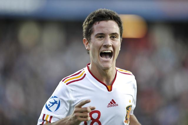 Ander Herrera of Spain celebrates after scoring during the UEFA Under-21 European Championship football final match at NRGI Park Stadium in Arhus Stadion Denmark on June 25, 2011. AFP PHOTO HENNING BAGGER/SCANPIX (Photo credit should read HENNING BAGGER/AFP/Getty Images)