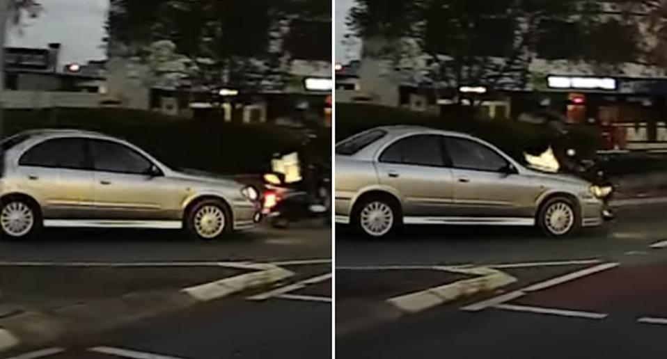 A car and scooter collide on Lutwyche Road, Windsor.