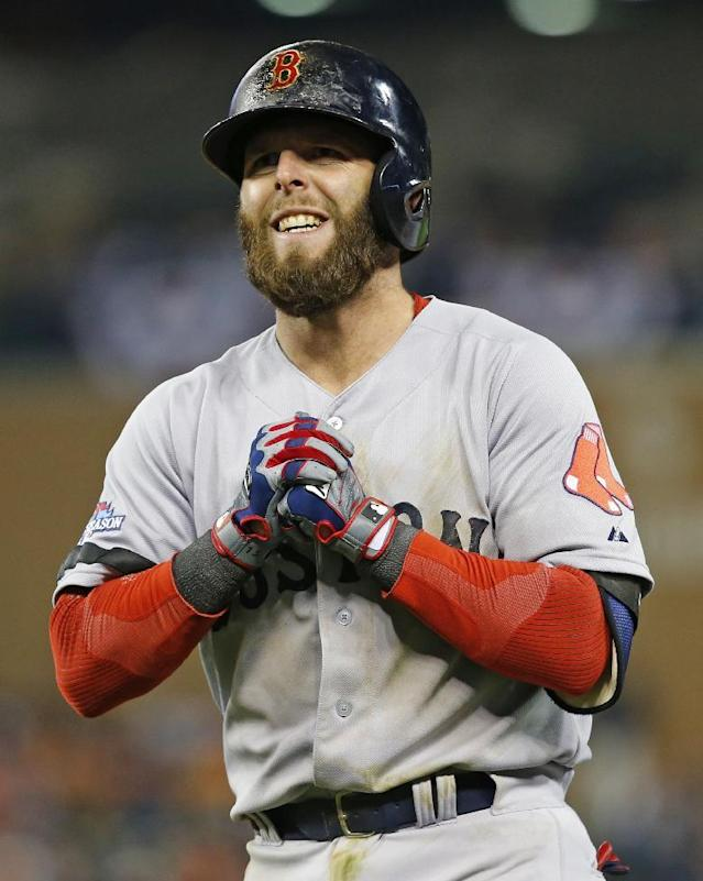 Boston Red Sox's Dustin Pedroia reacts after grounding out in the seventh inning during Game 4 of the American League baseball championship series against the Detroit Tigers, Wednesday, Oct. 16, 2013, in Detroit. (AP Photo/Paul Sancya)