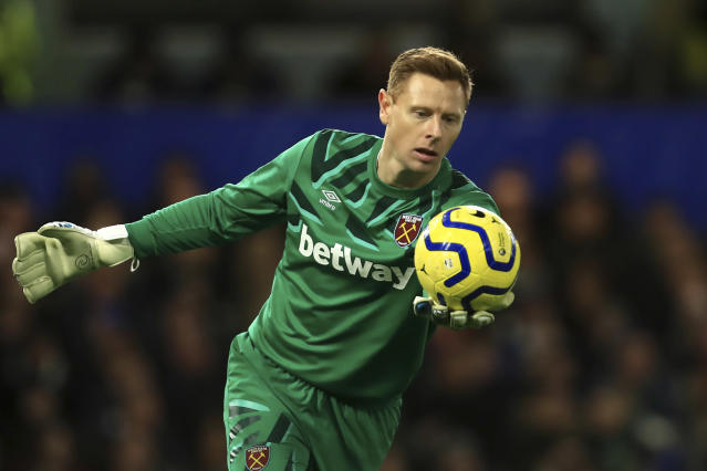 West Ham's goalkeeper David Martin during the English Premier League soccer match between Chelsea and West Ham at Stamford Bridge Stadium in London, England, in London, England, Saturday, Nov. 30, 2019. (AP Photo/Leila Coker)