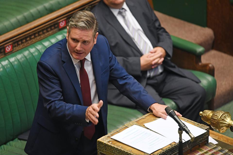 Britain's opposition Labour Party leader Keir Starmer speaks during a PM's statement session on the coronavirus disease (COVID-19) in the House of Commons, in London, Britain September 22, 2020. UK Parliament/Jessica Taylor/Handout via REUTERS THIS IMAGE HAS BEEN SUPPLIED BY A THIRD PARTY. MANDATORY CREDIT. IMAGE MUST NOT BE ALTERED