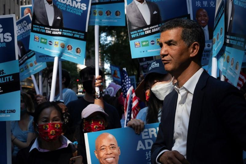 Congressman Adriano Espaillat looks on at the Democratic primary debate supporting Democratic candidate for New York City Mayor, Eric Adams in New York City