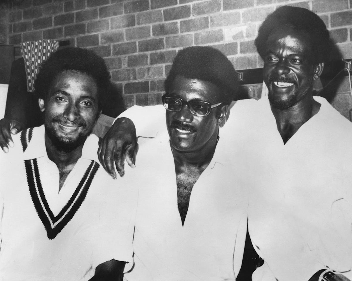 West-Indian cricketers (left to right) Andy Roberts, Clive Lloyd and Roy Fredericks after they beat Australia in the Second Test at Perth, Australia, 22nd December 1975. (Photo by Central Press/Hulton Archive/Getty Images)