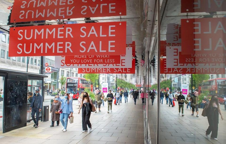 Pedestrians on Oxford Street, London. Shopper footfall continued to improve in August, according to new figures (Dominic Lipinski/PA) (PA Wire)