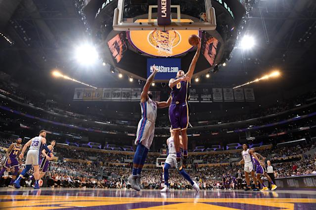 Kyle Kuzma need just three quarters to score 41 points in a Lakers win over the Pistons Wednesday. (Getty)