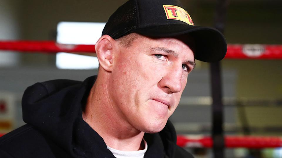 Paul Gallen is seen here during a boxing training session at a Sydney gym.