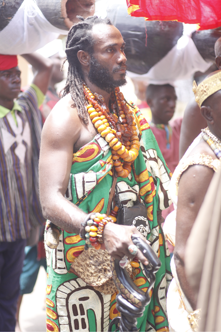 Okunini Ọbádélé Kambon is honored as a traditional ruler at a ceremony during the Odwira festival in Ghana in October 2018.