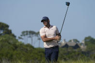 Brooks Koepka hits from the 11th hole during the final round at the PGA Championship golf tournament on the Ocean Course, Sunday, May 23, 2021, in Kiawah Island, S.C. (AP Photo/Matt York)