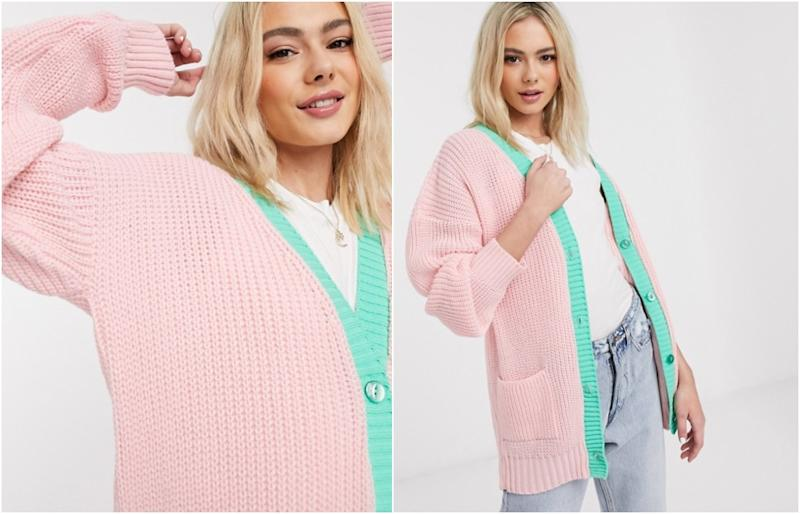 Daisy Street oversized cardigan in pastel knit