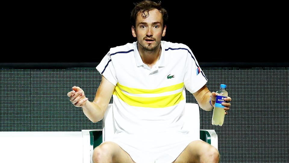 Daniil Medvedev looks on during his loss to Dusan Lajovic in Rotterdam. (Photo by Dean Mouhtaropoulos/Getty Images)