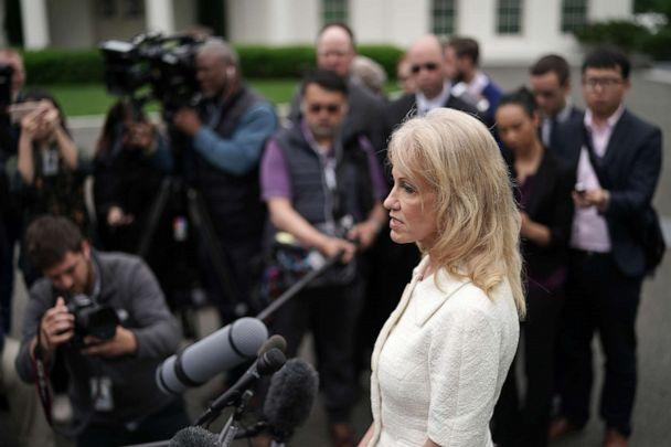 PHOTO: Counselor to President Donald Trump, Kellyanne Conway talks to reporters outside the White House on May 01, 2019, in Washington. (Chip Somodevilla/Getty Images)