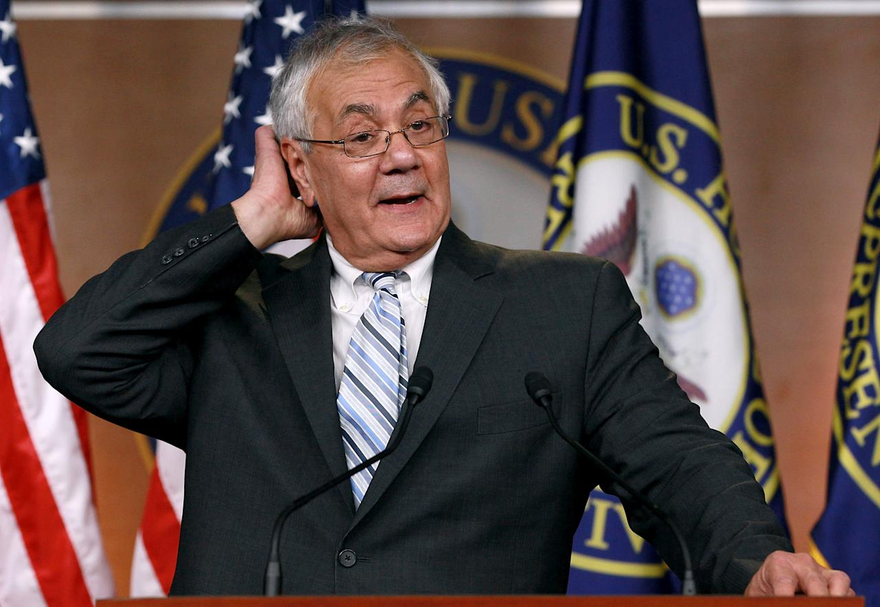 WASHINGTON, DC - NOVEMBER 29:  Rep. Barney Frank (D-MA) talks about his announcement to not seek re-election during a news conference at the U.S. Capitol on November 29, 2011 in Washington, DC. Yesterday Rep. Frank, who has served in Congress since 1981, announced that he would not seek re-election in the House of Representatives in 2012.  (Photo by Mark Wilson/Getty Images)