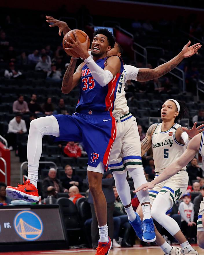 Detroit Pistons forward Christian Wood attempts a layup during the second half against the Milwaukee Bucks, Thursday, Feb. 20, 2020, in Detroit.