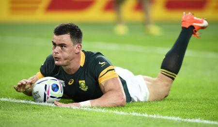 Rugby Union - South Africa v United States of America - IRB Rugby World Cup 2015 Pool B - Olympic Stadium, London, England - 7/10/15  Jesse Kriel scores a try for South Africa  Reuters / Dylan Martinez  Livepic