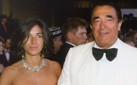 <span>Ghislaine Maxwell pictured with her father, newspaper owner Robert Maxwell, in Cannes in 1987</span>