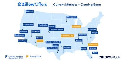 Zillow Offers markets as of December 9, 2019.