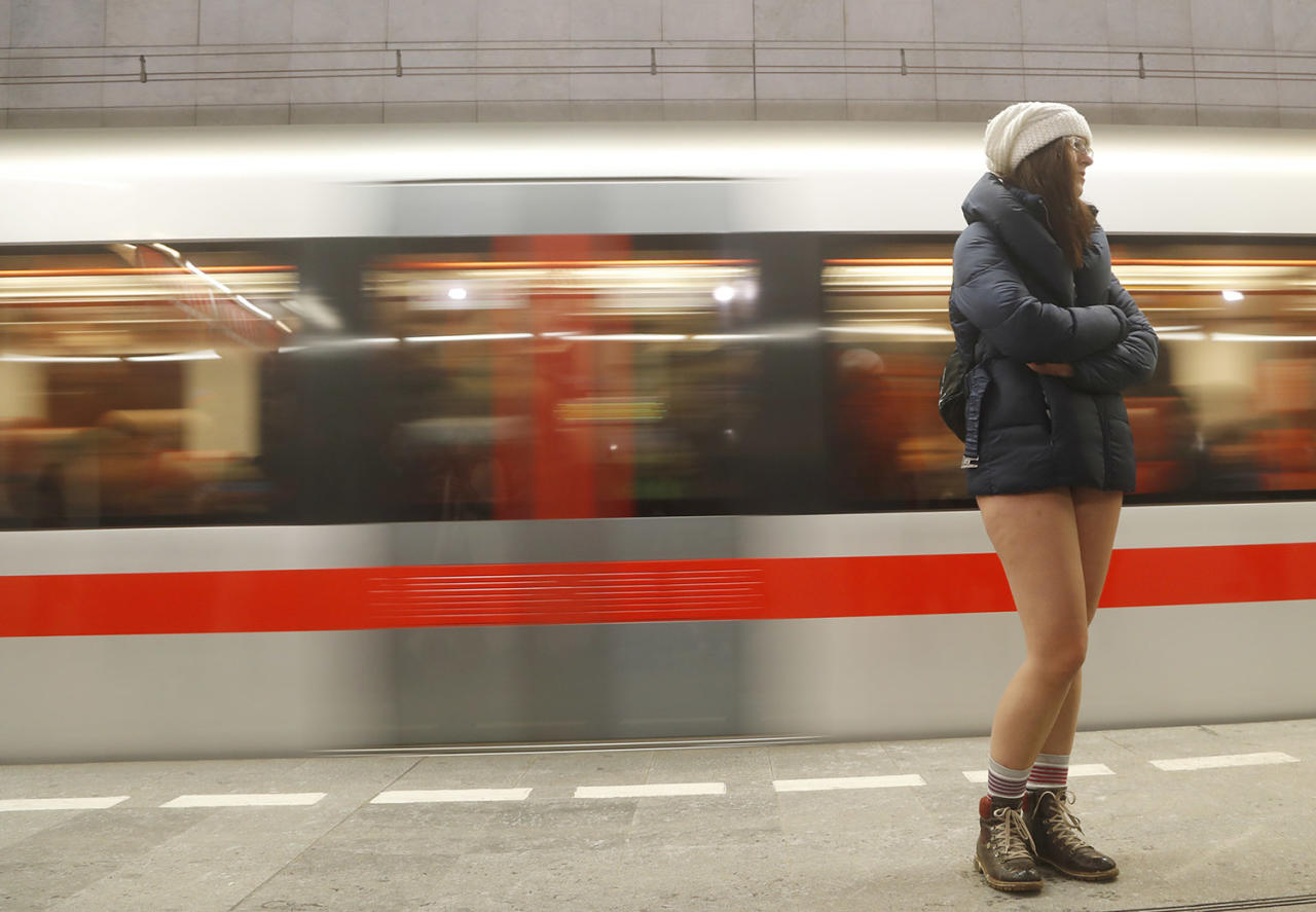 <p>A woman not wearing pants takes part in the No Pants Subway Ride in Prague on Jan. 8. The No Pants Subway Ride began in 2002 in New York as a stunt and has taken place in cities around the world since then. (Petr David Josek/AP) </p>