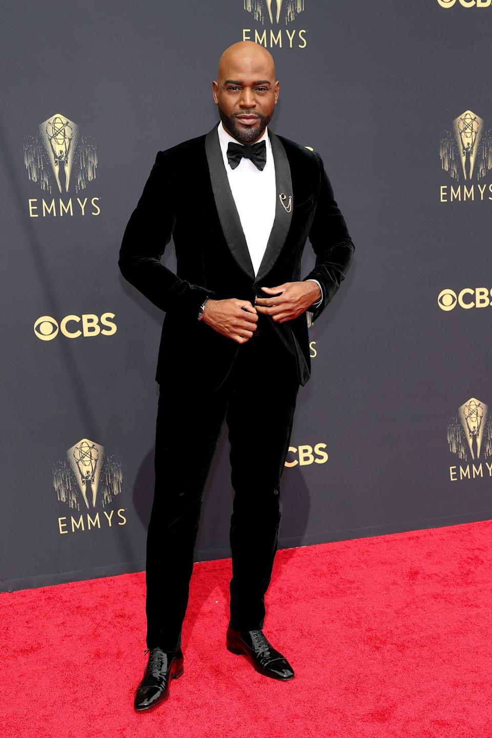 Karamo Brown wears a velvet suit at the 2021 Emmys.