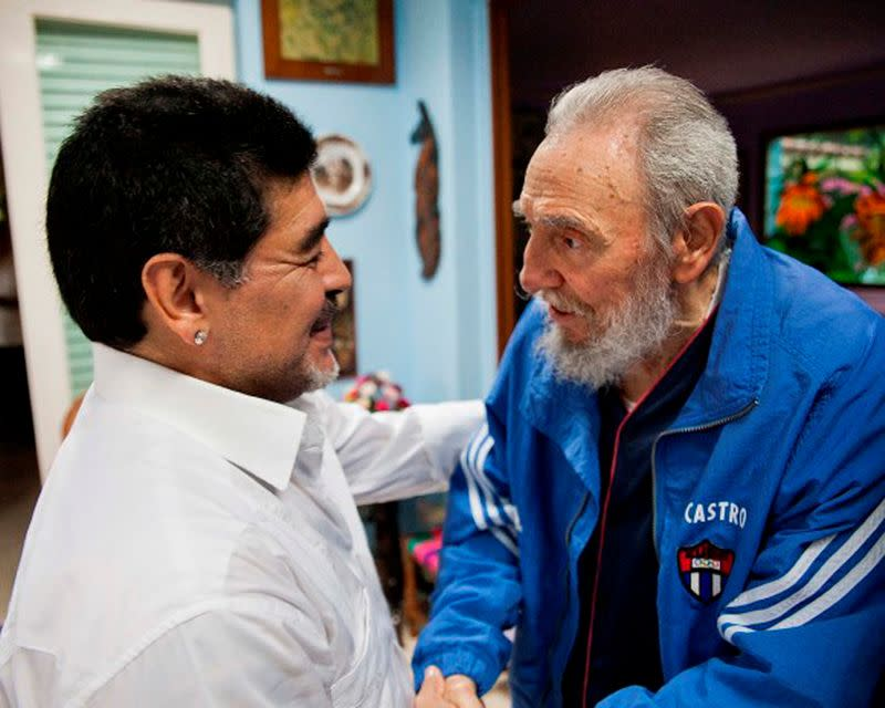 FILE PHOTO: Former Cuban leader Fidel Castro meets former Argentine soccer player Diego Armando Maradona in Havana