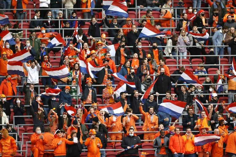 Back in business: 5,000 Dutch fans, who were tested for Covid-19 earlier in the day and tested negative, watch the Netherlands v Latvia World Cup qualifier in Amsterdam