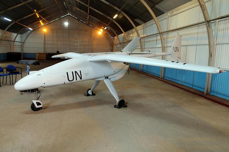 A surveillance drone belonging to the UN's peacekeeping mission in the Democratic Republic of Congo sits in a hangar in the city of Goma on December 3, 2013